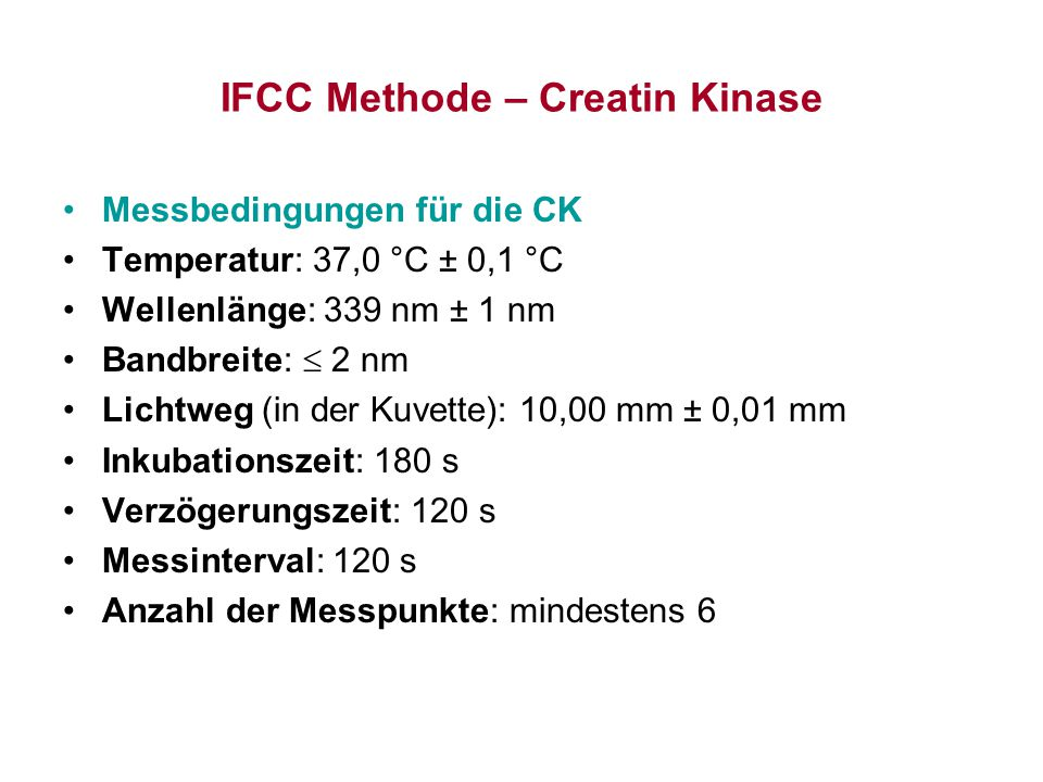 IFCC Methode – Creatin Kinase