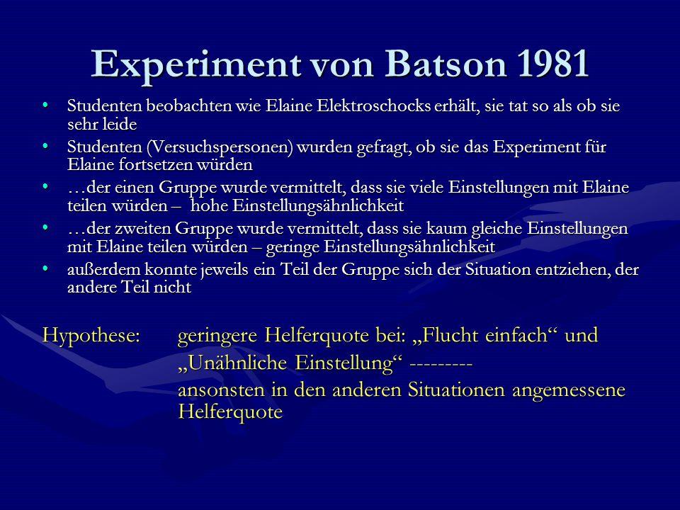 Experiment von Batson 1981 Studenten beobachten wie Elaine Elektroschocks erhält, sie tat so als ob sie sehr leide.