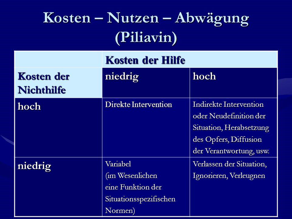 Kosten – Nutzen – Abwägung (Piliavin)
