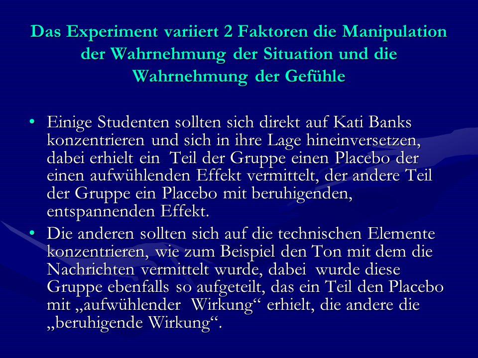 Das Experiment variiert 2 Faktoren die Manipulation der Wahrnehmung der Situation und die Wahrnehmung der Gefühle