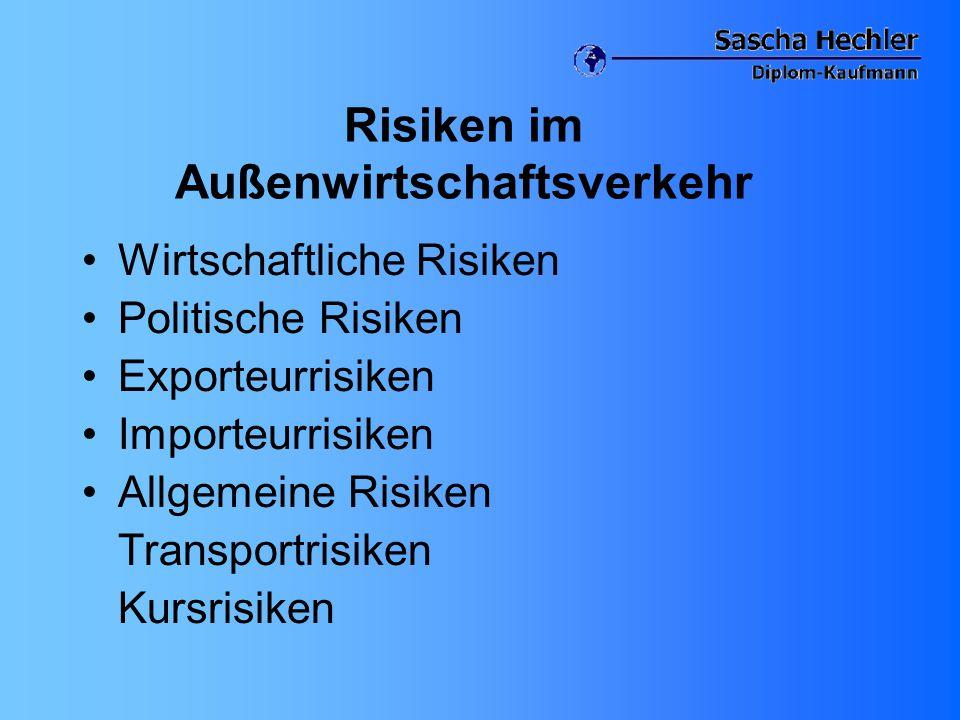 Risiken im Außenwirtschaftsverkehr