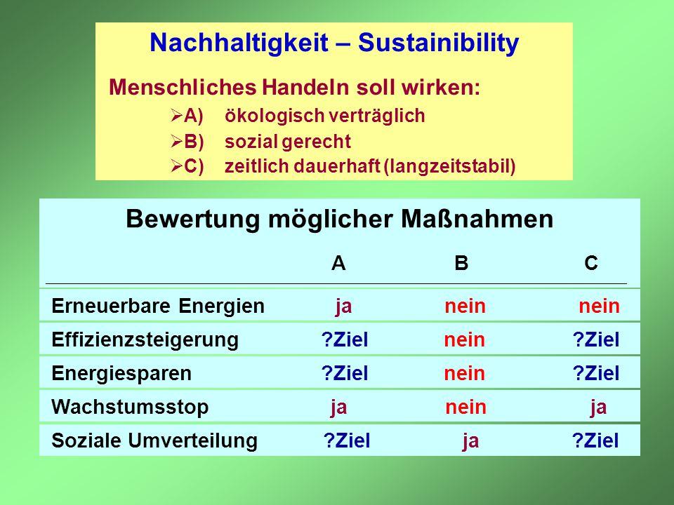 Nachhaltigkeit – Sustainibility Bewertung möglicher Maßnahmen