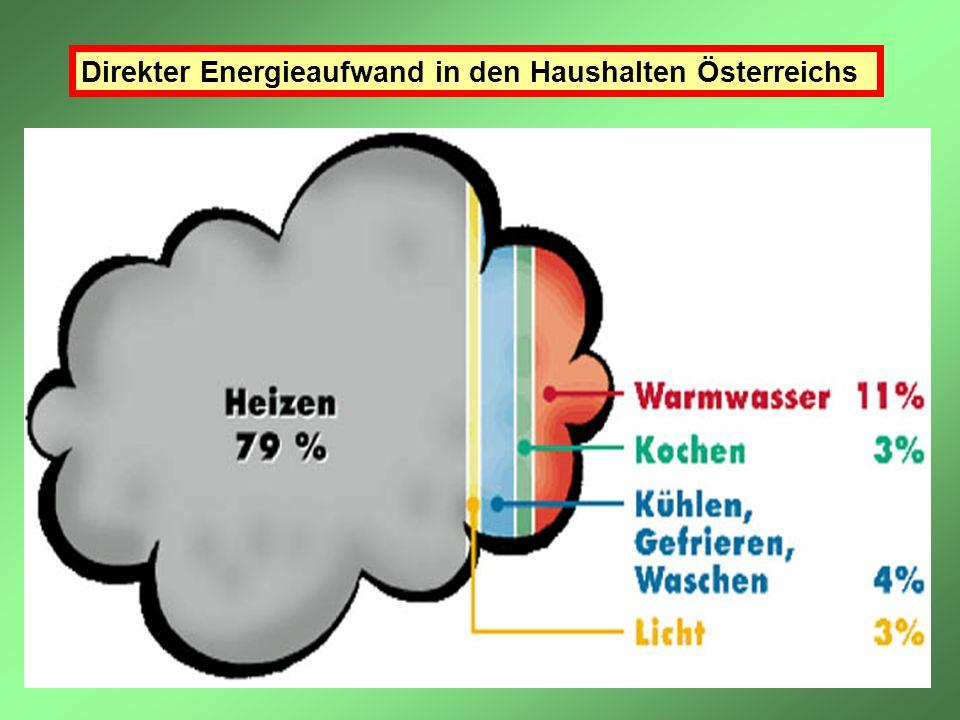 Direkter Energieaufwand in den Haushalten Österreichs