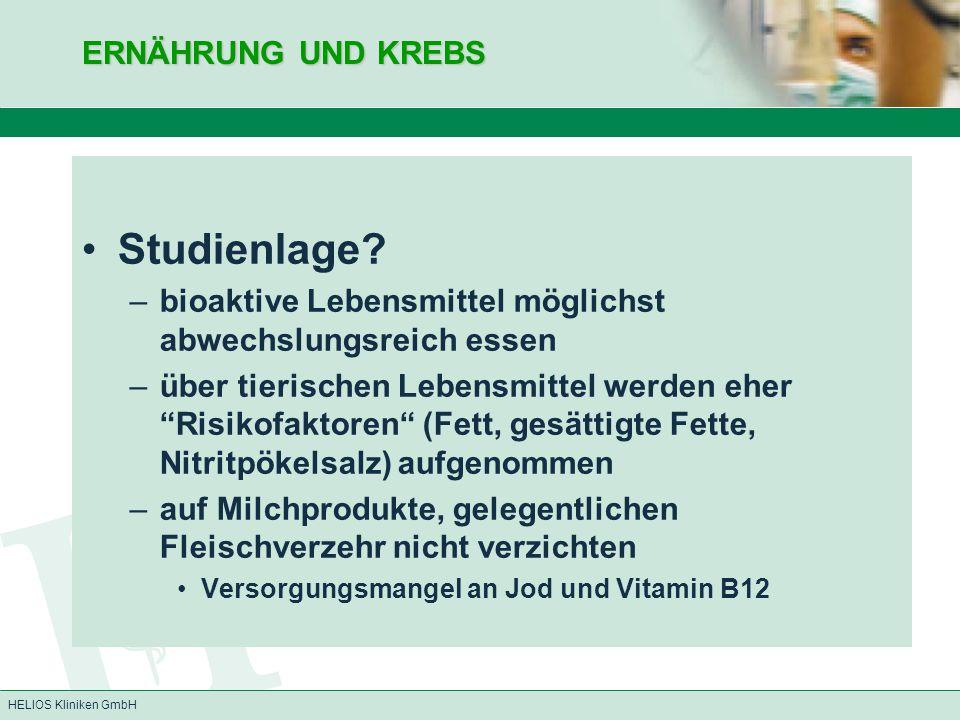 Studienlage ERNÄHRUNG UND KREBS