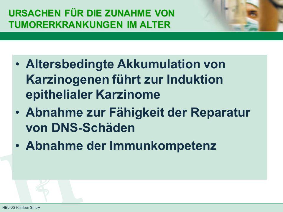 Abnahme zur Fähigkeit der Reparatur von DNS-Schäden