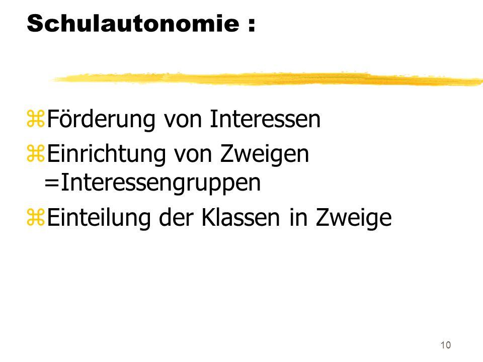 Schulautonomie : Förderung von Interessen. Einrichtung von Zweigen =Interessengruppen.