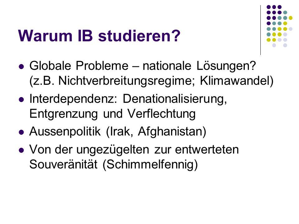 Warum IB studieren Globale Probleme – nationale Lösungen (z.B. Nichtverbreitungsregime; Klimawandel)