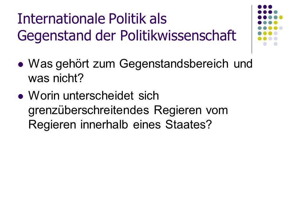 Internationale Politik als Gegenstand der Politikwissenschaft