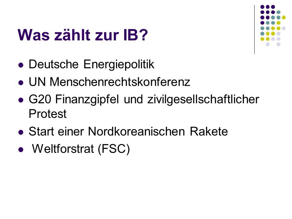 Was zählt zur IB Deutsche Energiepolitik UN Menschenrechtskonferenz