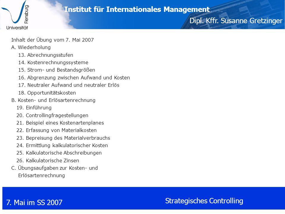 Inhalt der Übung vom 7. Mai 2007