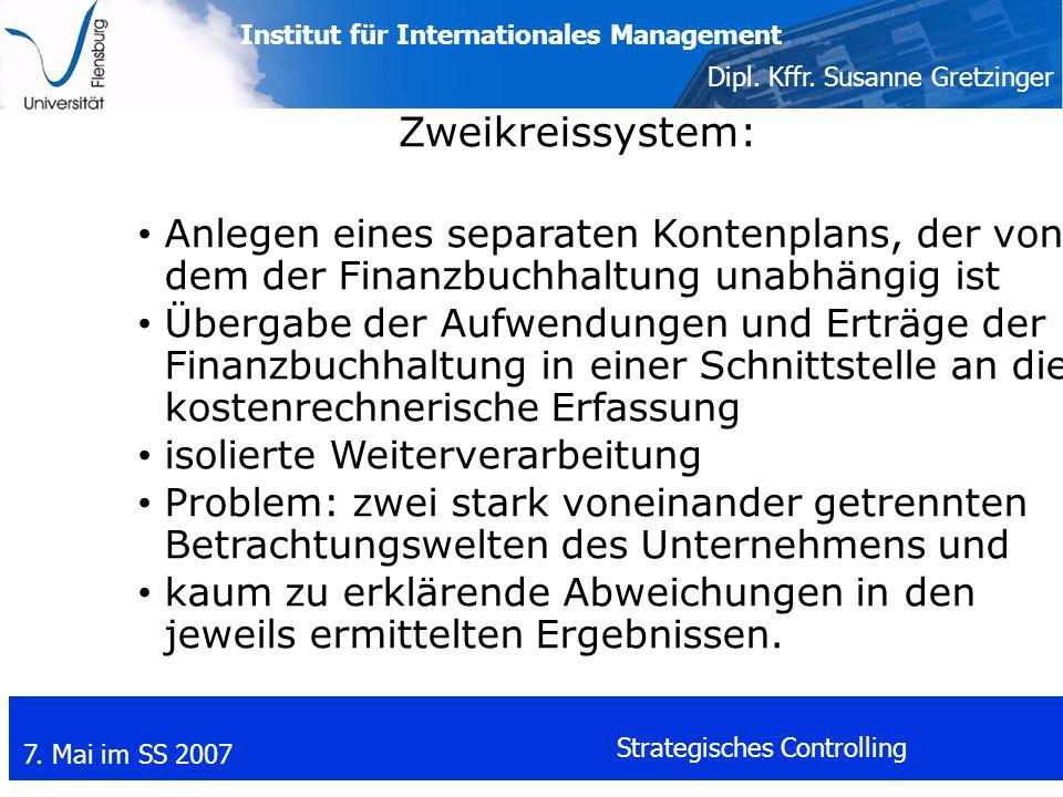 Zweikreissystem: Anlegen eines separaten Kontenplans, der von dem der Finanzbuchhaltung unabhängig ist.