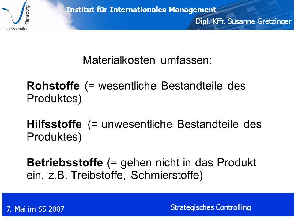 Materialkosten umfassen: