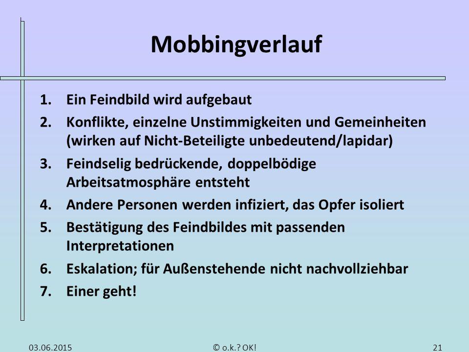 Folgen von Mobbing Folgen für das Mobbing-Opfer