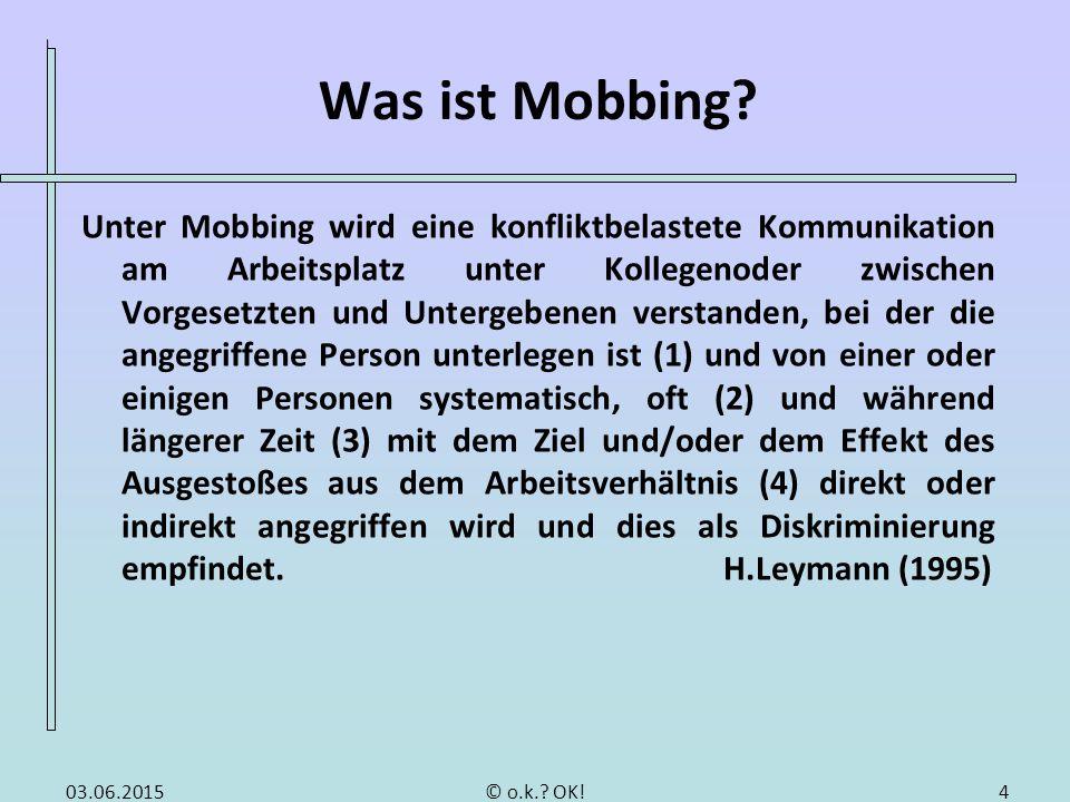 Was ist Mobbing Fragestellung: Ab wann kann von Mobbing gesprochen werden Häufige Mobbinghandlungen.