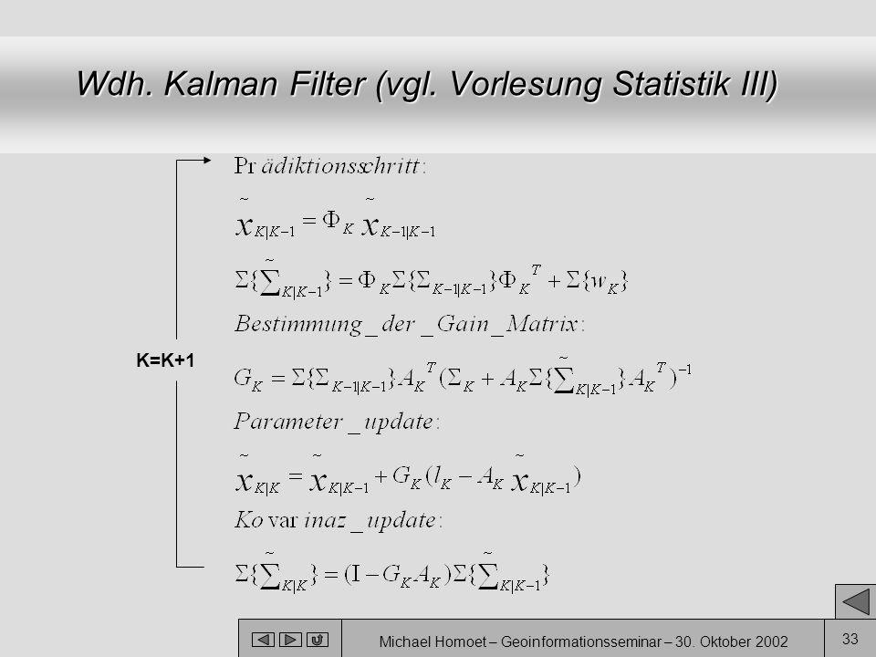 Wdh. Kalman Filter (vgl. Vorlesung Statistik III)