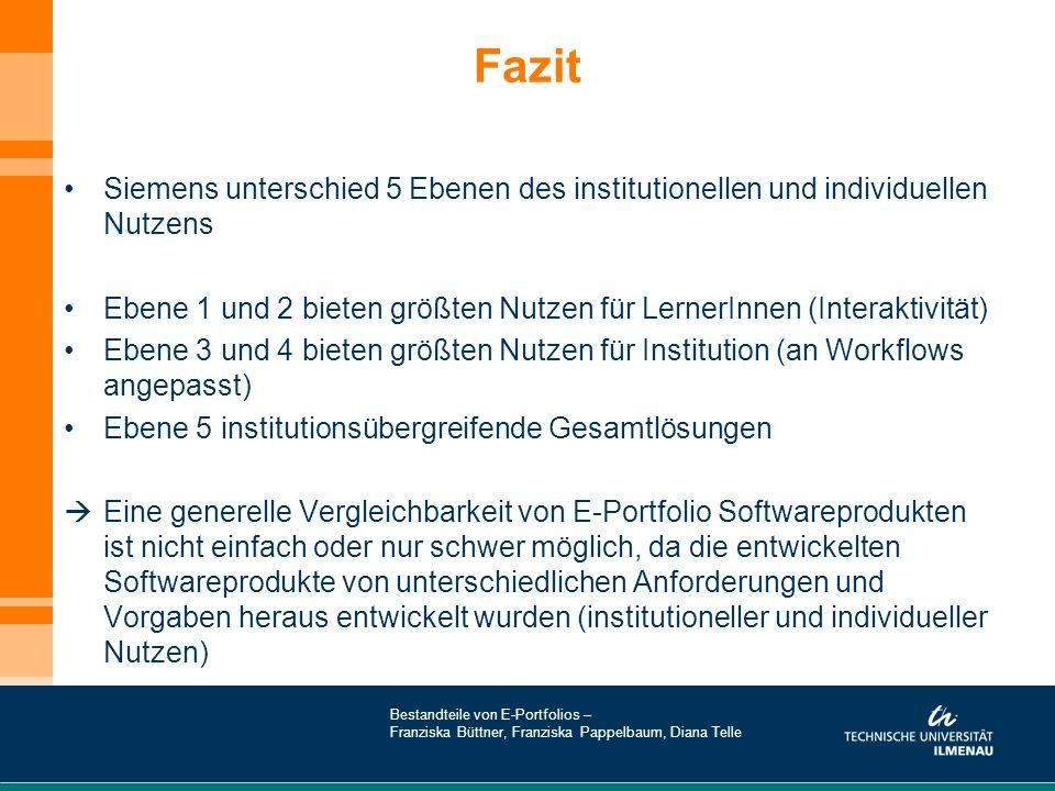 Fazit Siemens unterschied 5 Ebenen des institutionellen und individuellen Nutzens.