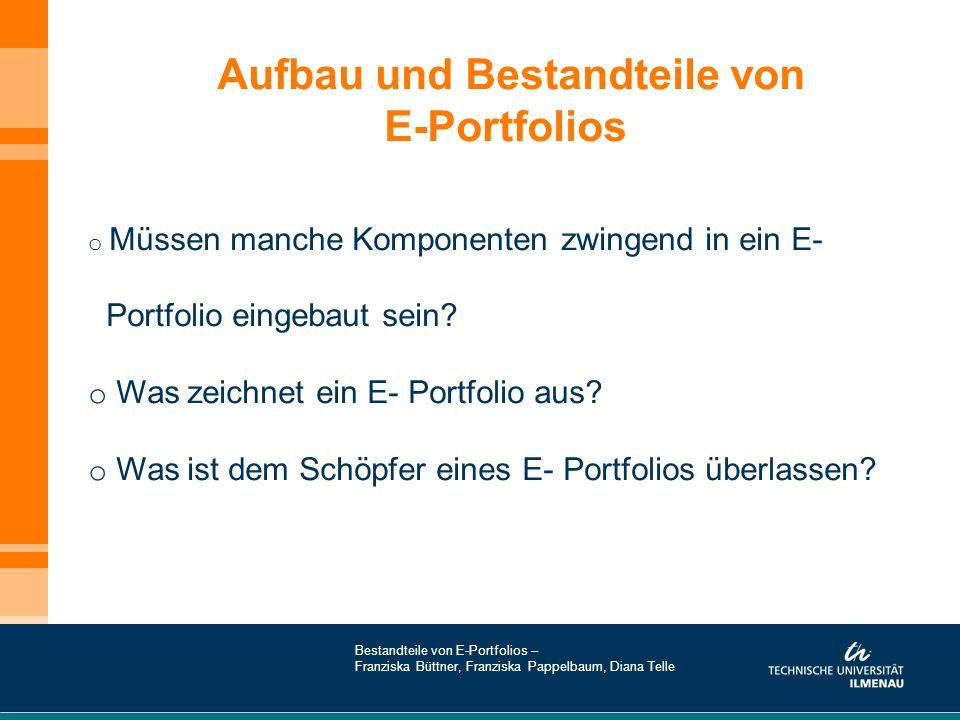 Aufbau und Bestandteile von E-Portfolios