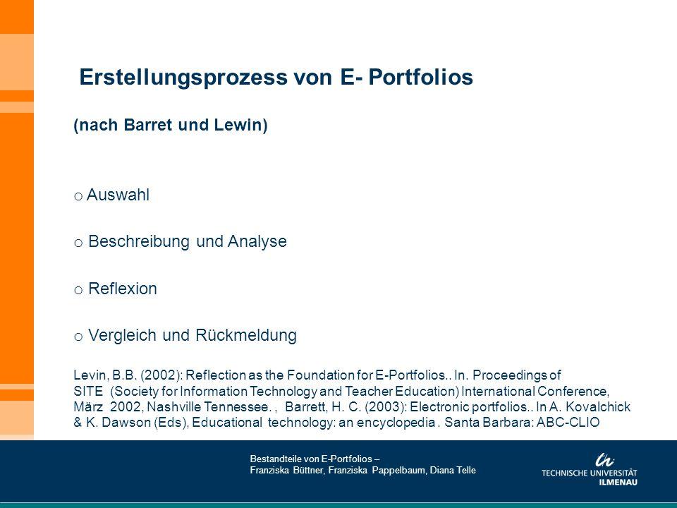 Erstellungsprozess von E- Portfolios