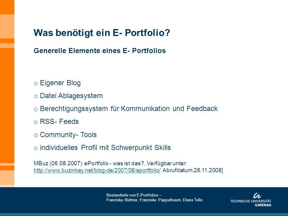 Was benötigt ein E- Portfolio