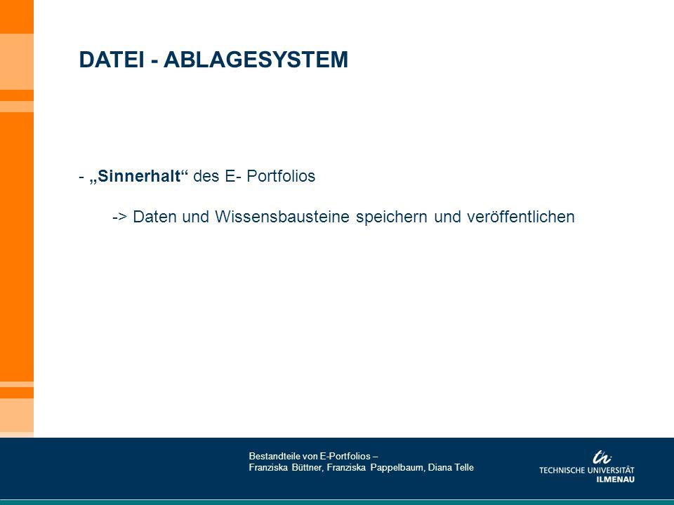 """DATEI - ABLAGESYSTEM """"Sinnerhalt des E- Portfolios"""