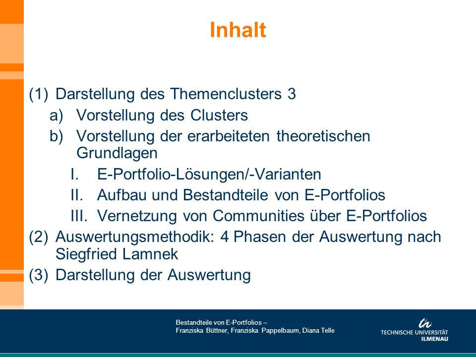 Inhalt Darstellung des Themenclusters 3 Vorstellung des Clusters