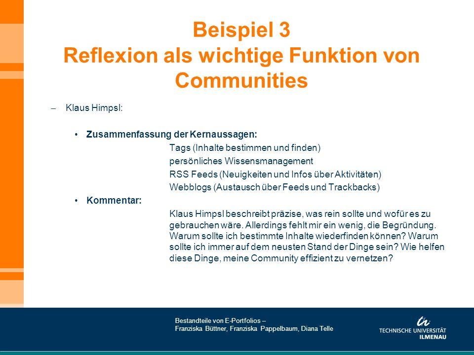 Beispiel 3 Reflexion als wichtige Funktion von Communities