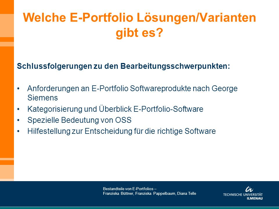 Welche E-Portfolio Lösungen/Varianten gibt es