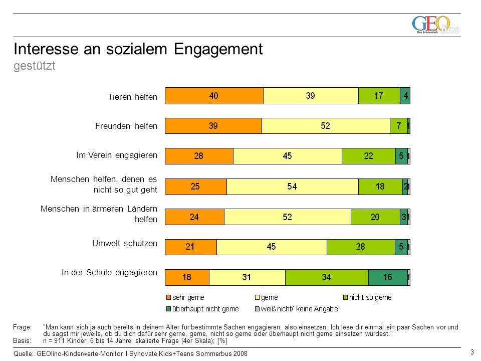 Interesse an sozialem Engagement gestützt