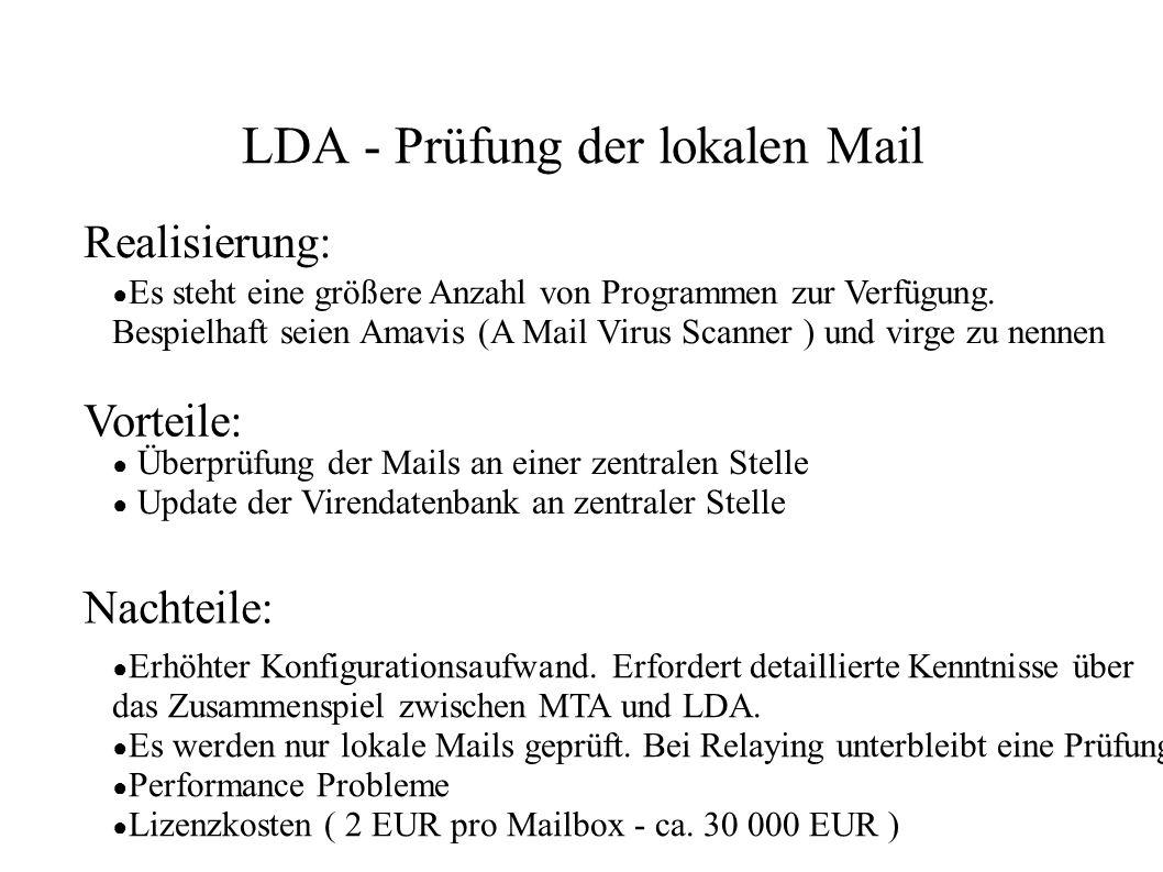 LDA - Prüfung der lokalen Mail