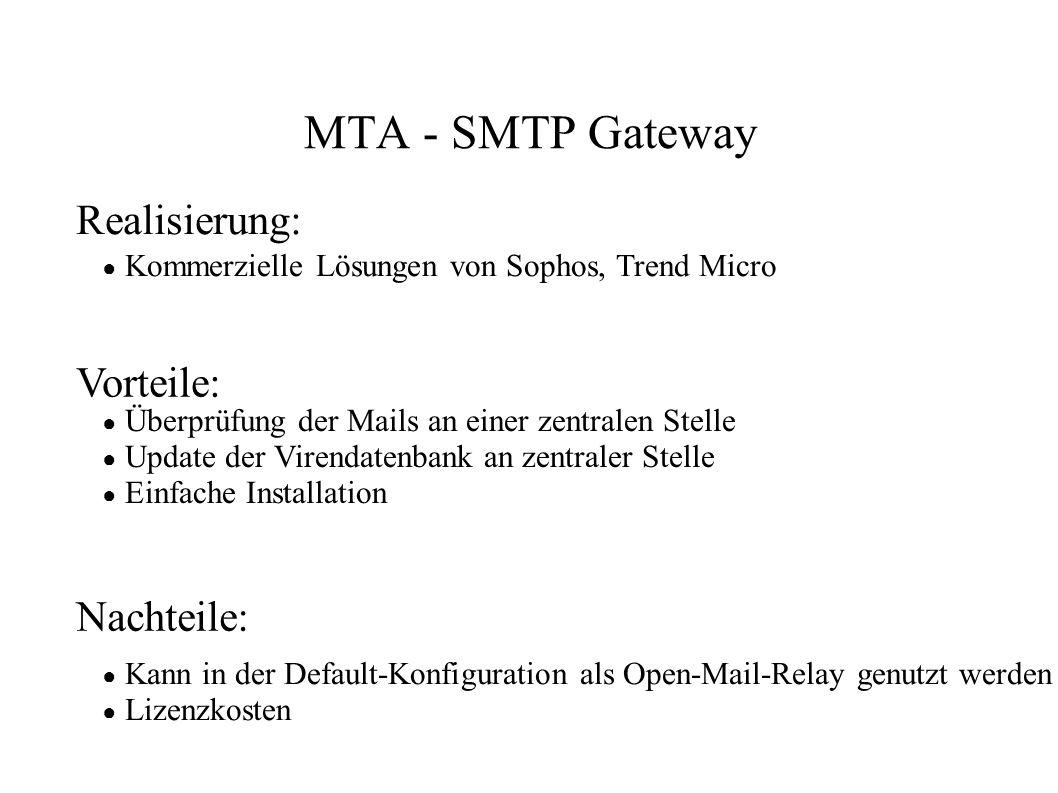 MTA - SMTP Gateway Realisierung: Vorteile: Nachteile:
