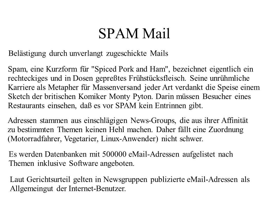 SPAM Mail Belästigung durch unverlangt zugeschickte Mails