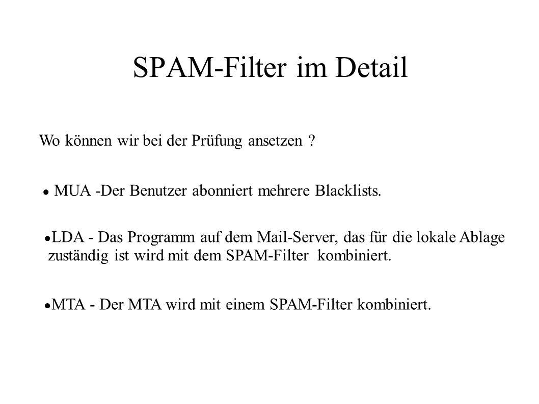 SPAM-Filter im Detail Wo können wir bei der Prüfung ansetzen