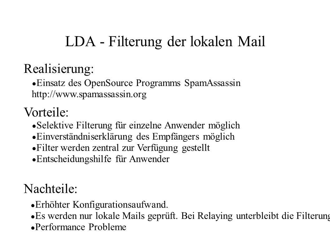 LDA - Filterung der lokalen Mail