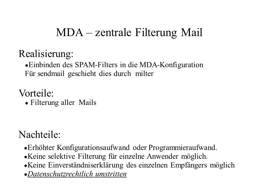 MDA – zentrale Filterung Mail