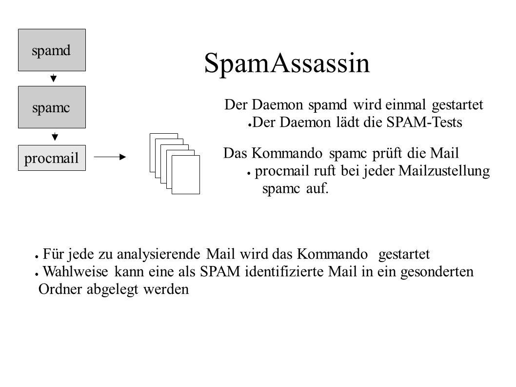 SpamAssassin spamd spamc Der Daemon spamd wird einmal gestartet
