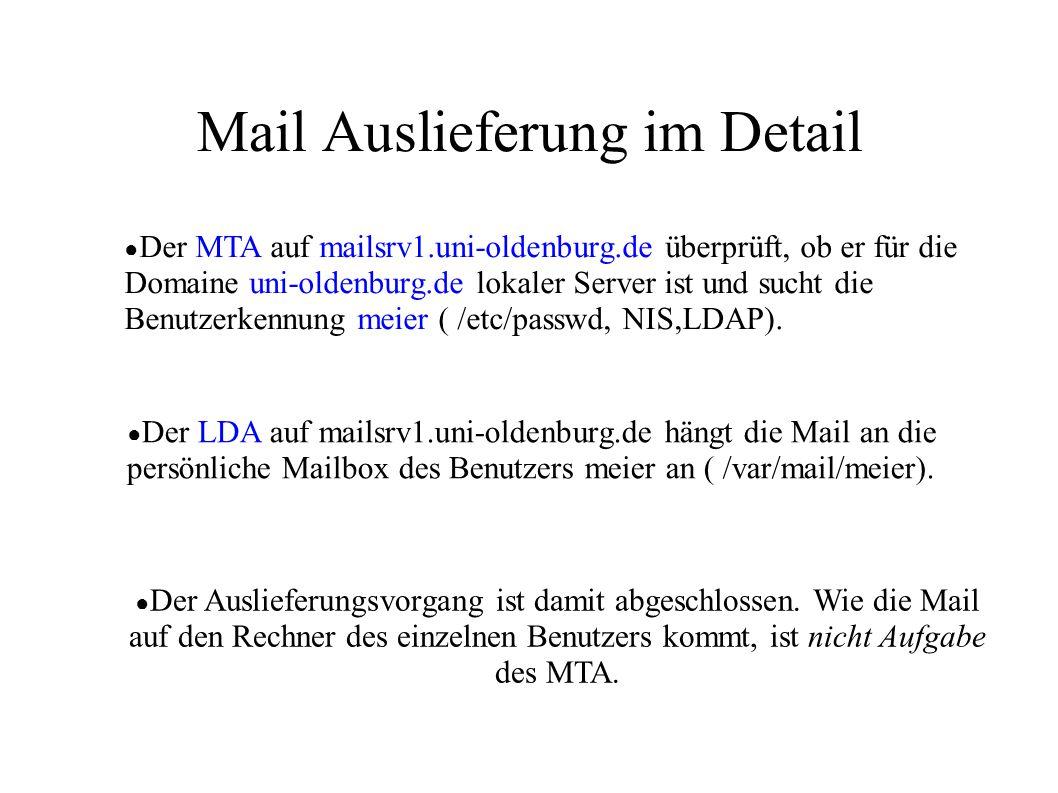 Mail Auslieferung im Detail