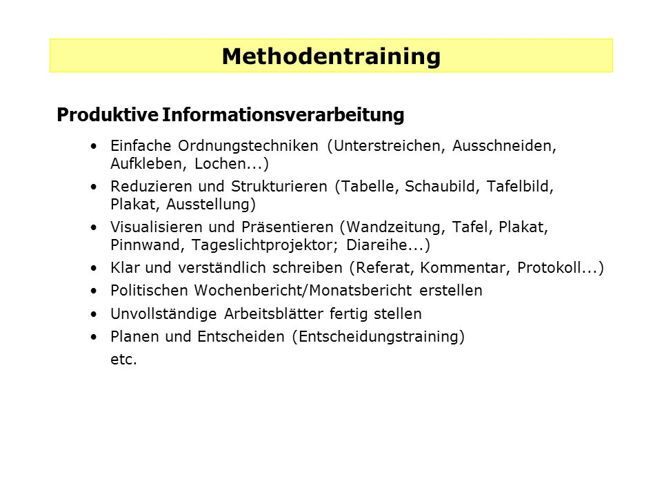 Methodentraining Produktive Informationsverarbeitung