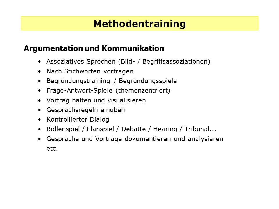 Methodentraining Argumentation und Kommunikation