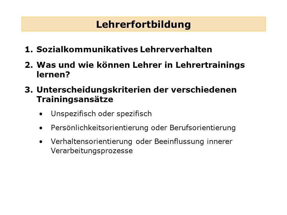 Lehrerfortbildung Sozialkommunikatives Lehrerverhalten