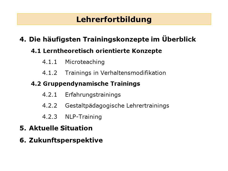 Lehrerfortbildung 4. Die häufigsten Trainingskonzepte im Überblick
