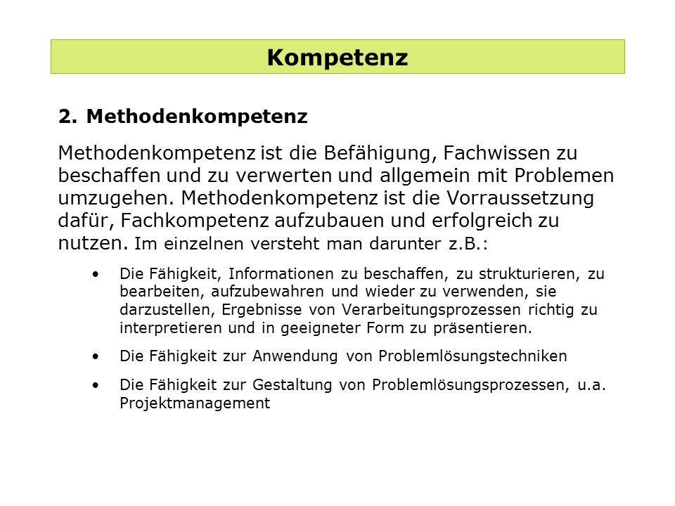 Kompetenz 2. Methodenkompetenz