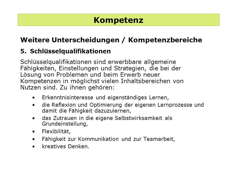 Kompetenz Weitere Unterscheidungen / Kompetenzbereiche