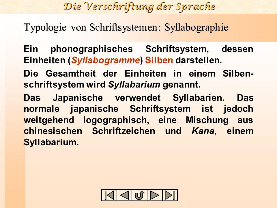Typologie von Schriftsystemen: Syllabographie