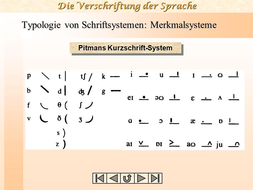 Typologie von Schriftsystemen: Merkmalsysteme