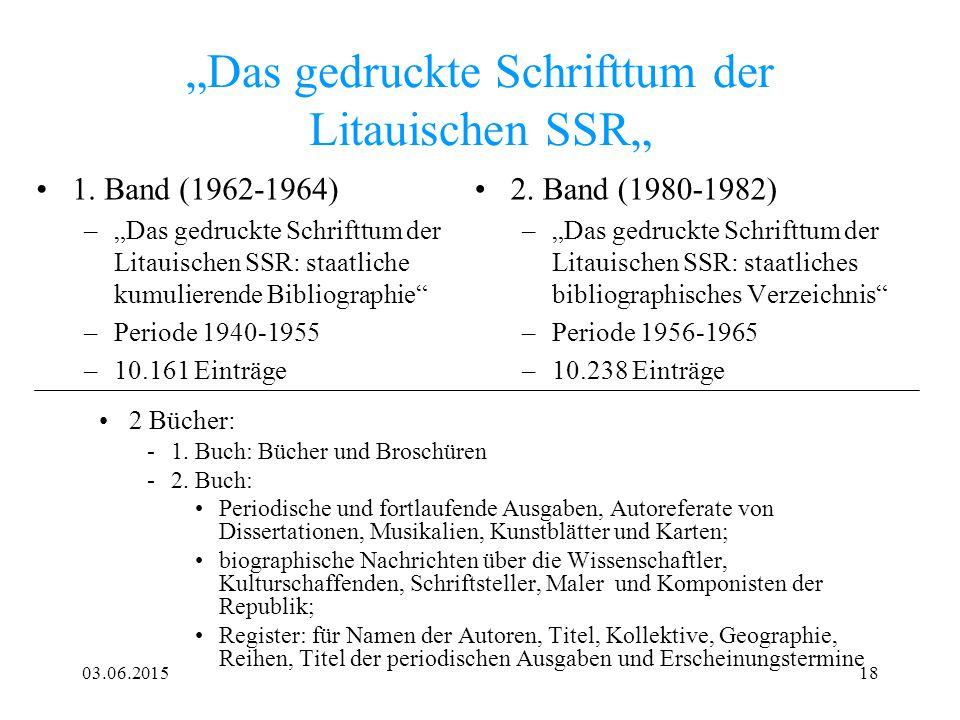 """""""Das gedruckte Schrifttum der Litauischen SSR"""""""