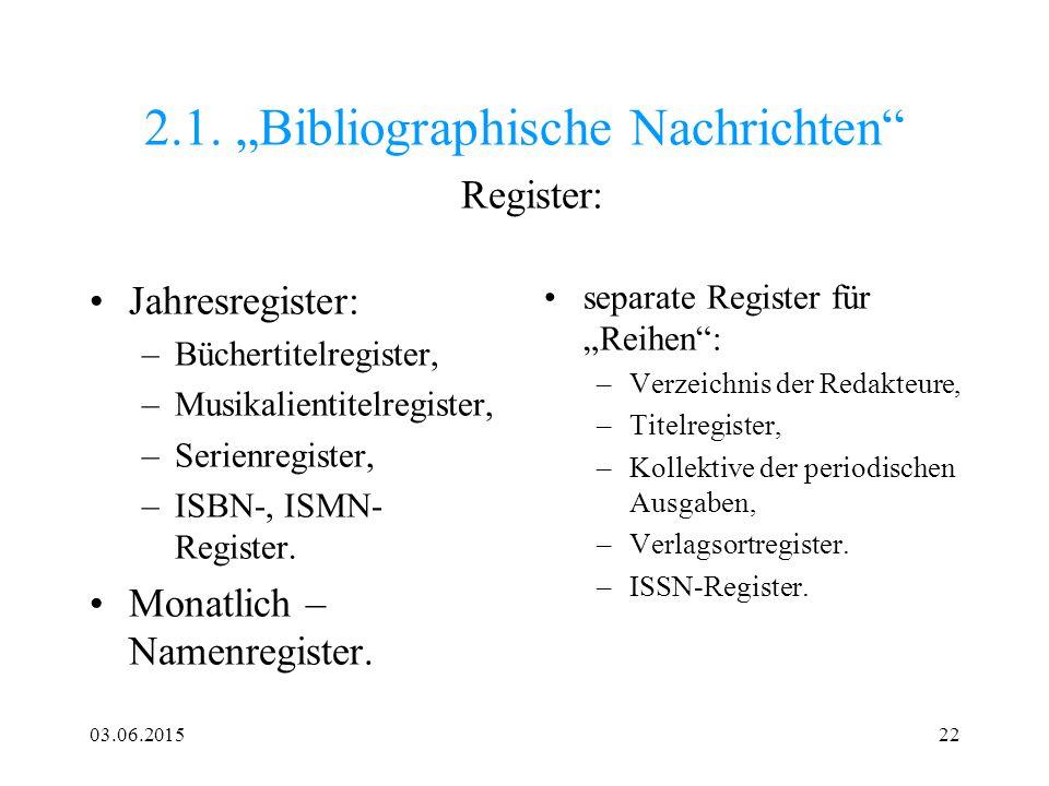 """2.1. """"Bibliographische Nachrichten Register:"""
