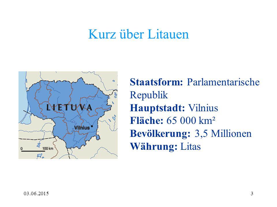 Kurz über Litauen Staatsform: Parlamentarische Republik Hauptstadt: Vilnius Fläche: 65 000 km² Bevölkerung: 3,5 Millionen.