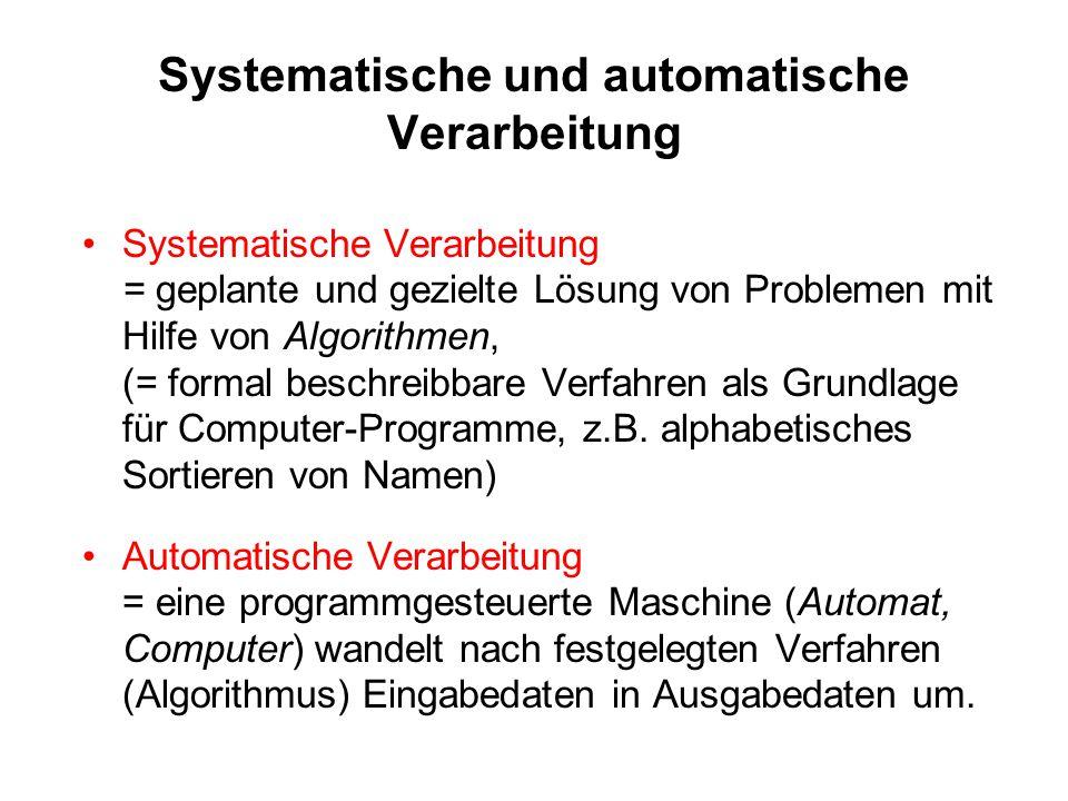 Systematische und automatische Verarbeitung