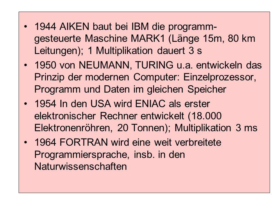 1944 AIKEN baut bei IBM die programm-gesteuerte Maschine MARK1 (Länge 15m, 80 km Leitungen); 1 Multiplikation dauert 3 s