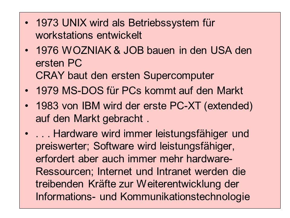 1973 UNIX wird als Betriebssystem für workstations entwickelt